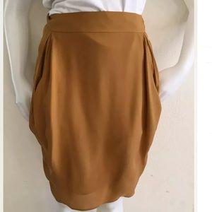 TSE Burnt Orange Silk Draped Pencil Skirt Sz 10